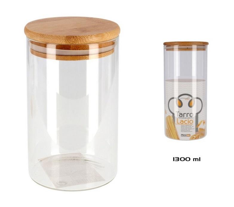Tarro voorraadbus van borosilicaat glas met bamboe deksel 1300mL