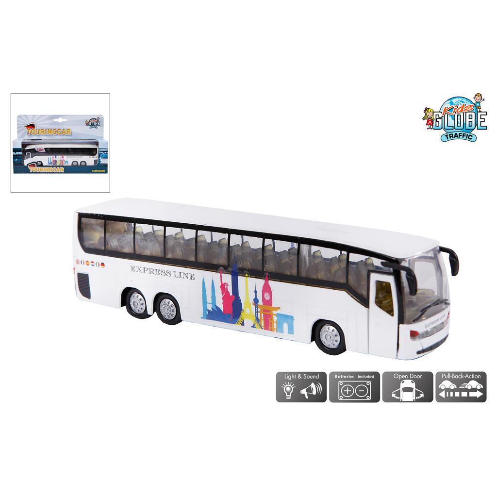 Kids Globe Traffic Metalen Pull-Back Touringcar met Licht en Geluid 19 cm Assorti