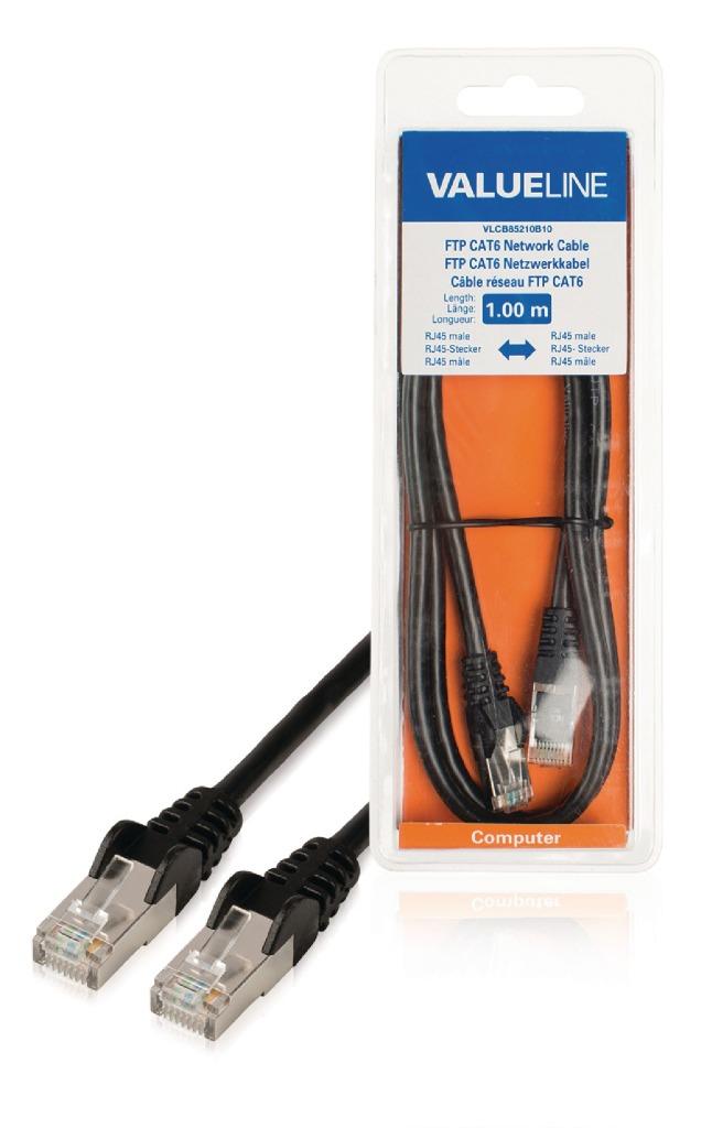 Valueline VLCB85210B10 Cat6 F/utp Netwerkkabel Rj45 (8/8) Male - Rj45 (8/8) Male 1.00 M Zwart