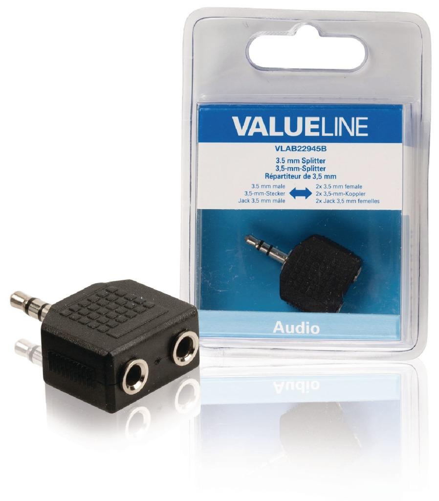 Valueline VLAB22945B Audio-splitter 3,5 mm Male - 2x Female Zwart
