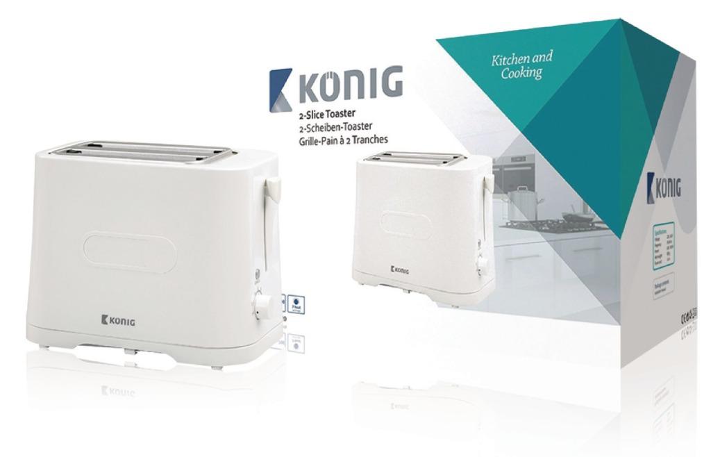 König KN-BT20 Broodrooster Wit