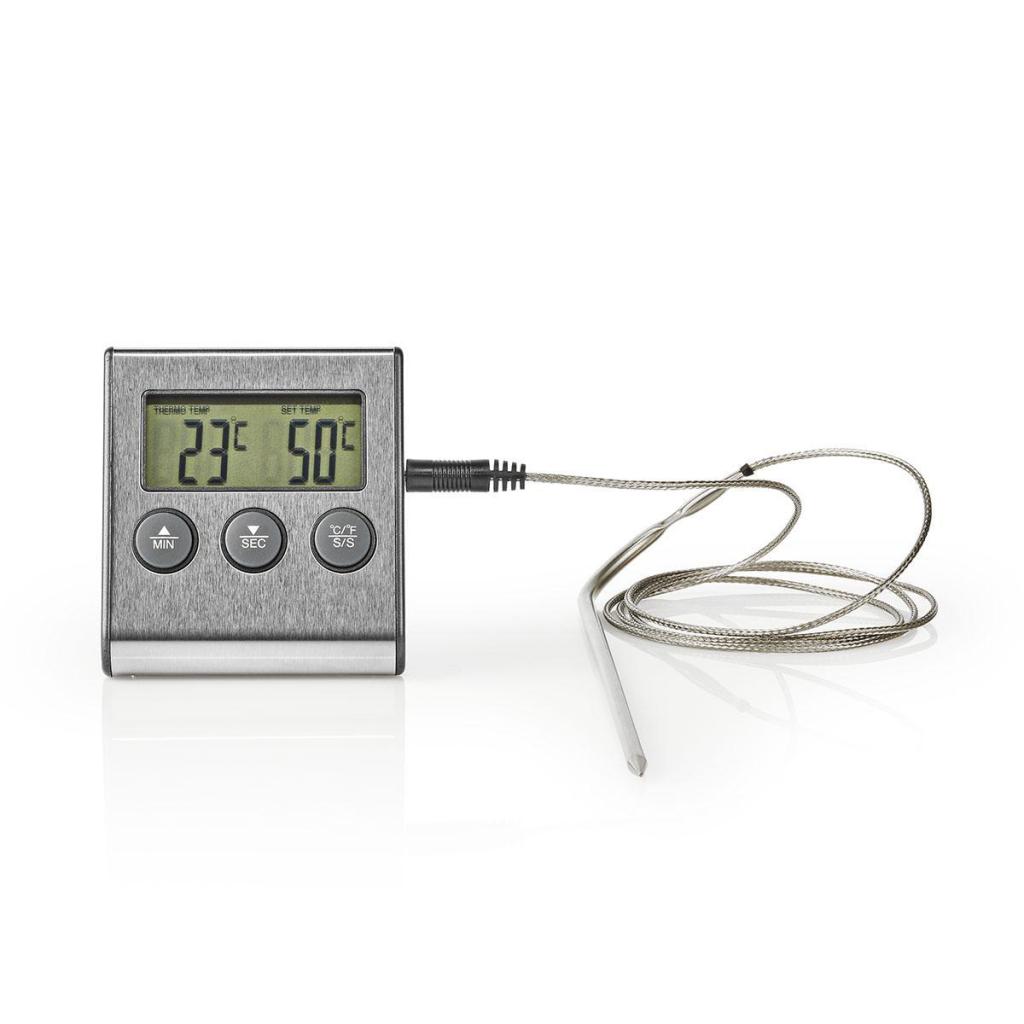 Nedis KATH104SS Vleesthermometer 0 - 250 °c Digitaal Display Timer