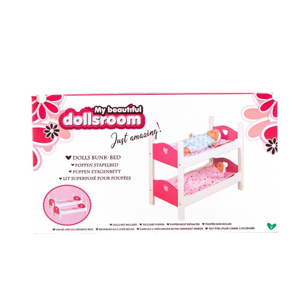 My Beautiful Dollsroom Houten Poppen-Stapelbed Roze/Wit
