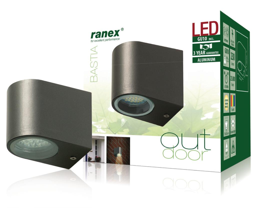 Ranex Ra-5000332 Led Buitenwandlamp van Roestvrijstaal