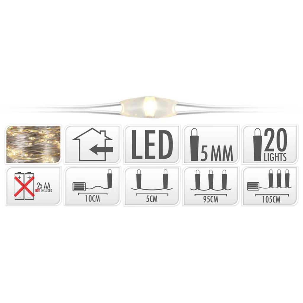 S.I.A. Zilverdraad Kerstverlichting op Batterij 95cm 20 LED Lampjes