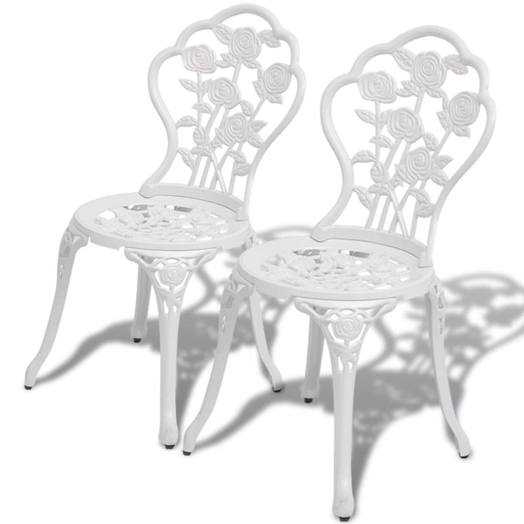 Bistro stoelen wit 41x49x81,5 cm gegoten aluminium 2 st