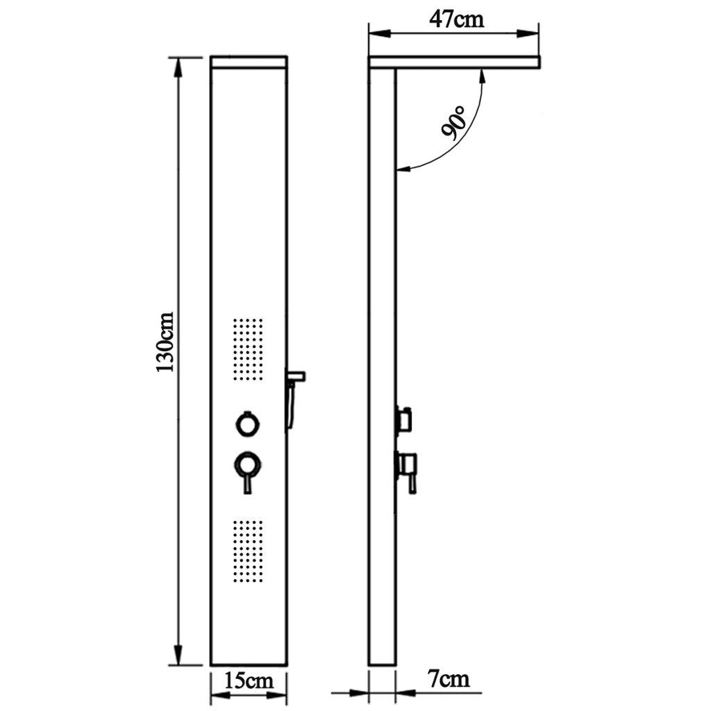 Douche paneelsysteem aluminium mat zwart