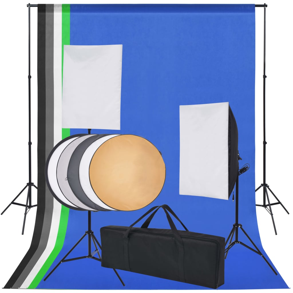 Fotostudio set met 5 gekleurde achtergronden & 2 softboxen