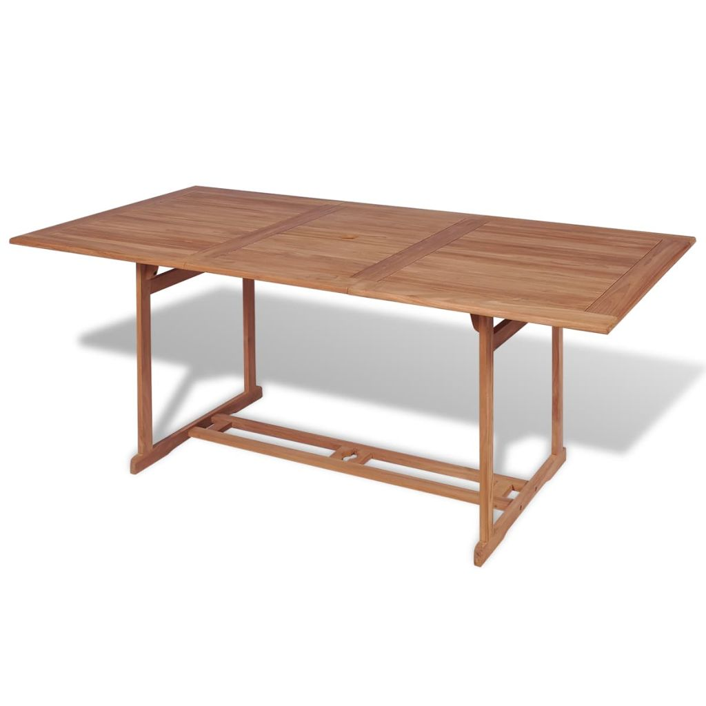 Eettafel voor buiten rechthoekig 180x90x75 cm teakhout