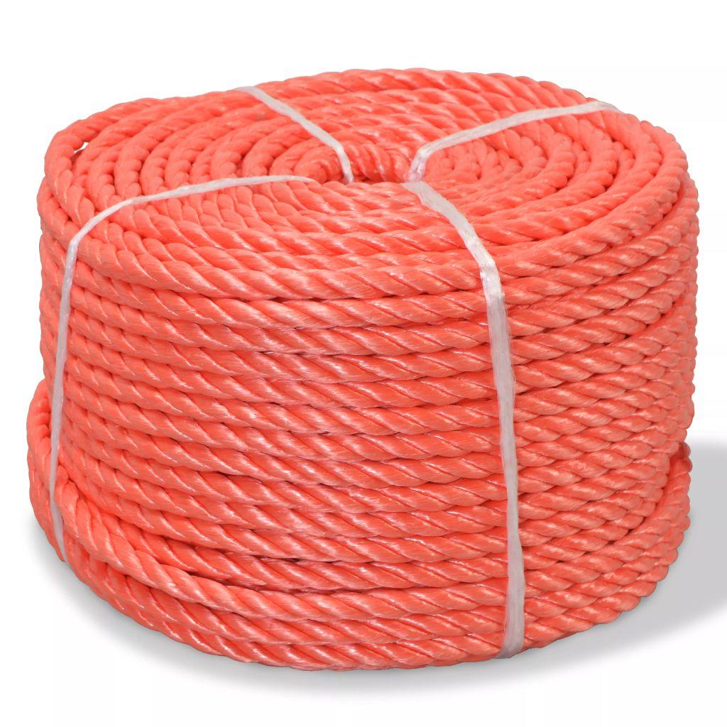 Touw gedraaid 12 mm 100 m polypropyleen oranje