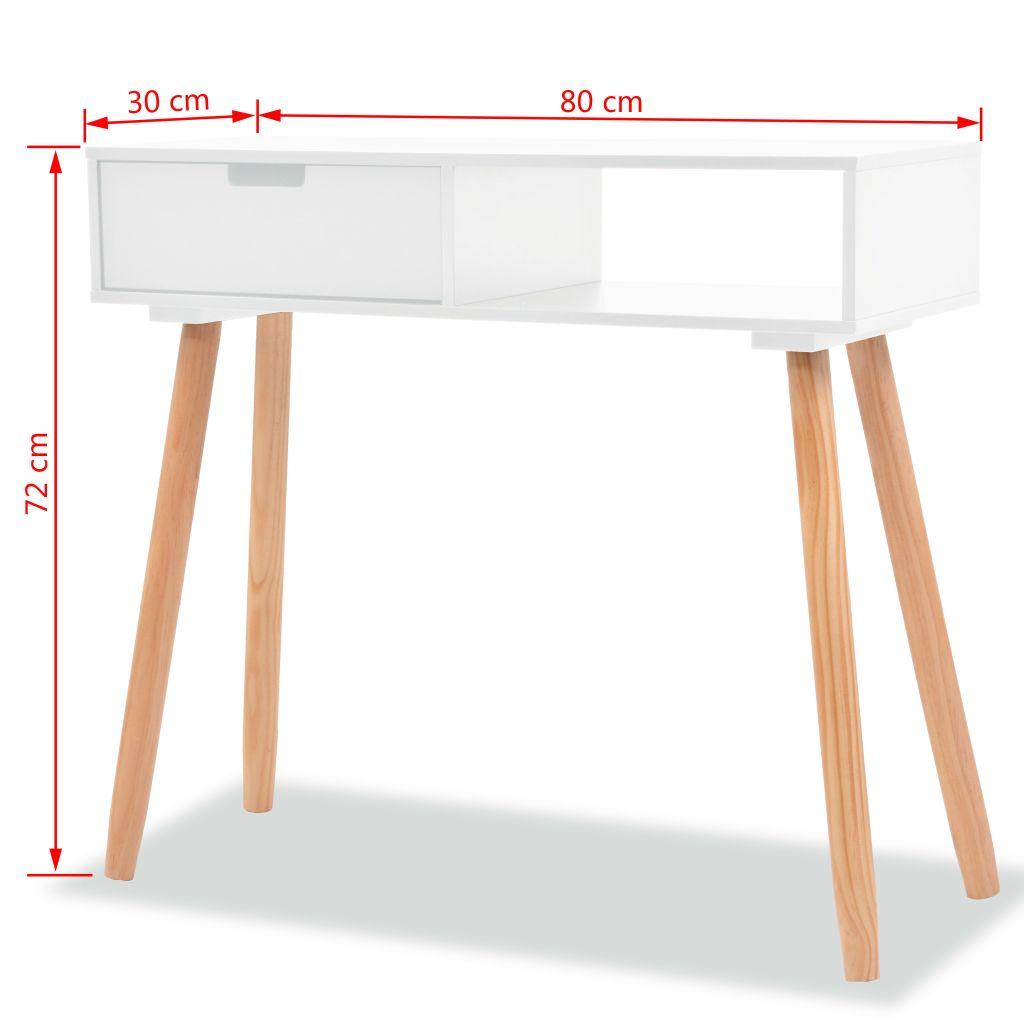 Wandtafel 80x30x72 cm massief grenenhout wit