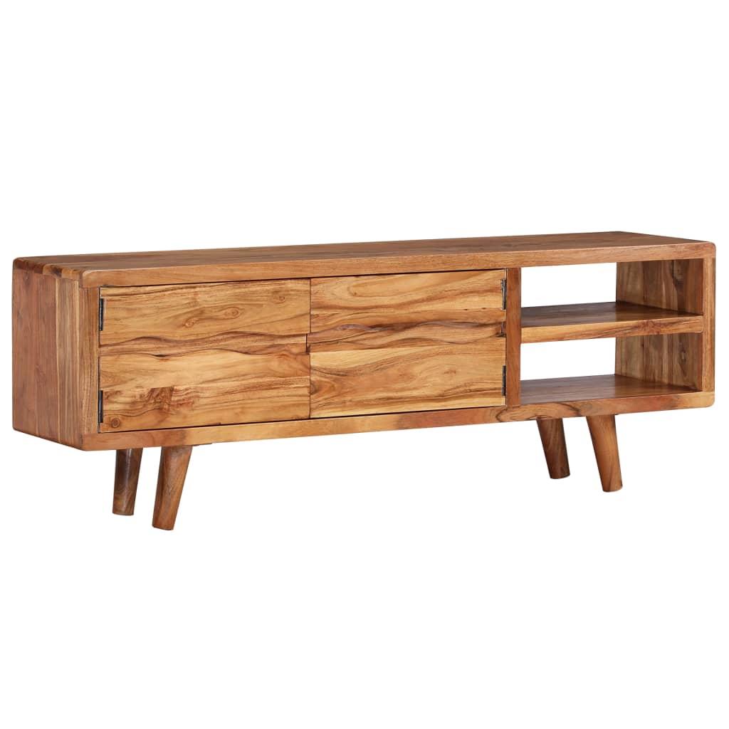 Tv-meubel met bewerkte deuren 117x30x40 cm massief acaciahout