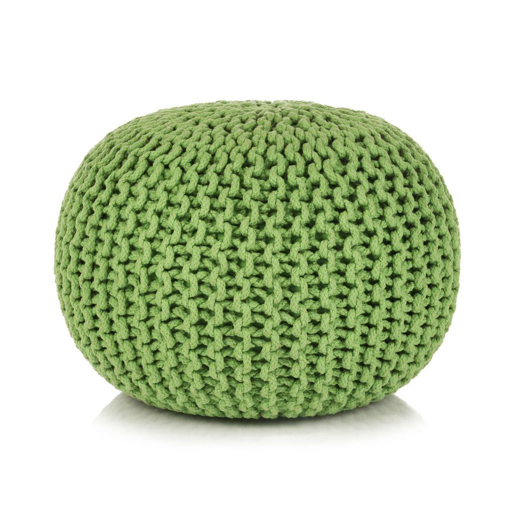 Poef handgebreid 50x35 cm katoen groen