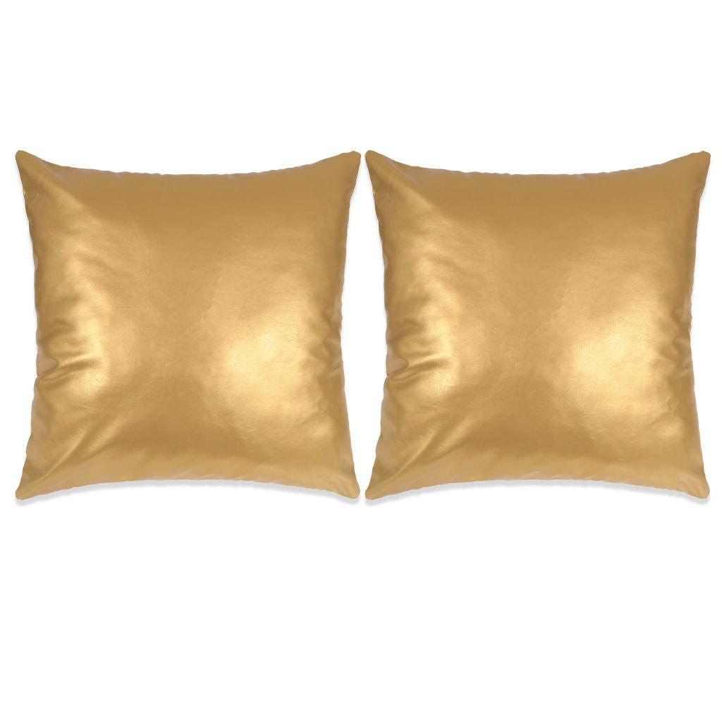 Sierkussenset 45x45 cm PU goud 2-delig