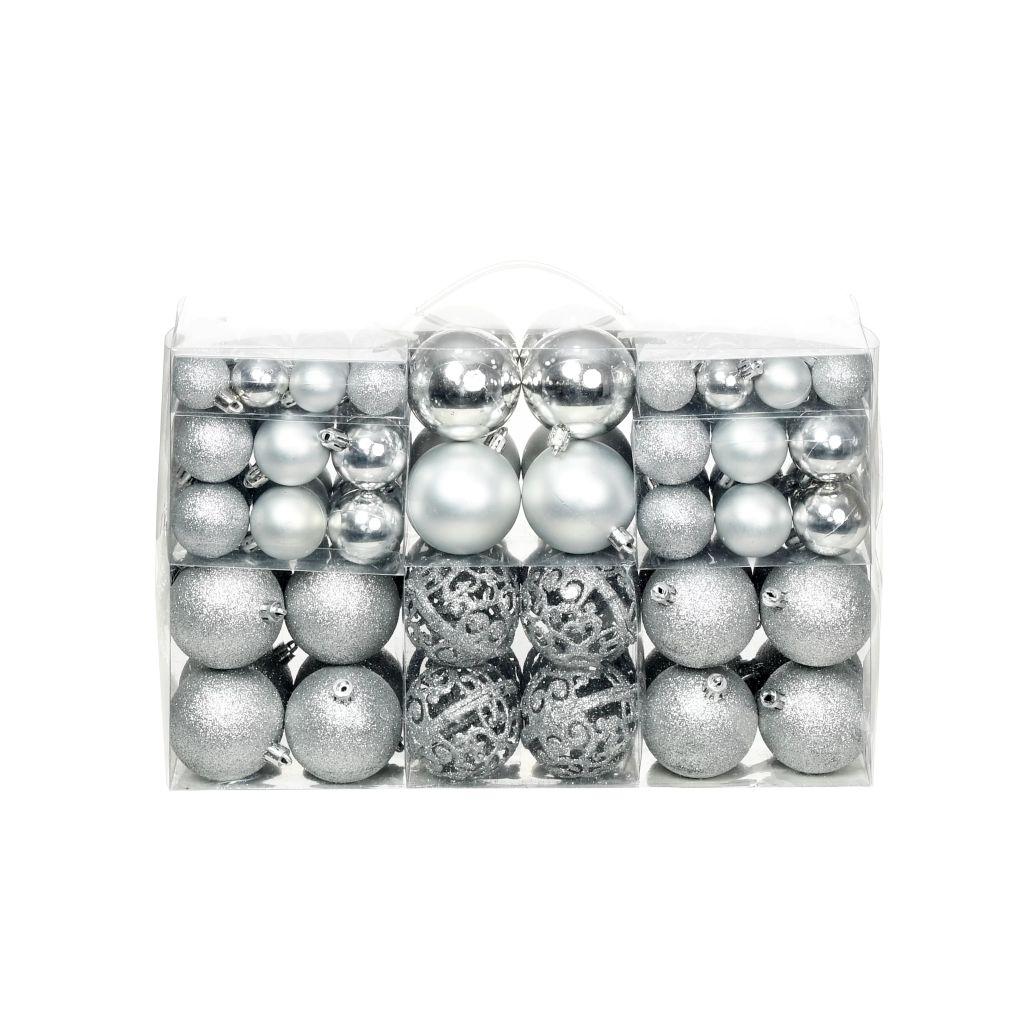 Kerstballenset 6 cm zilver 100-delig