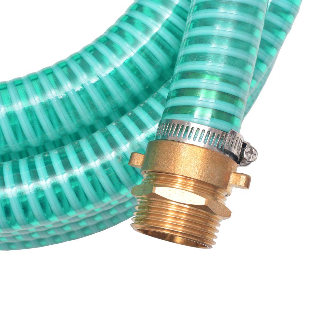 Zuigslang met messing koppelingen 3 m 25 mm groen