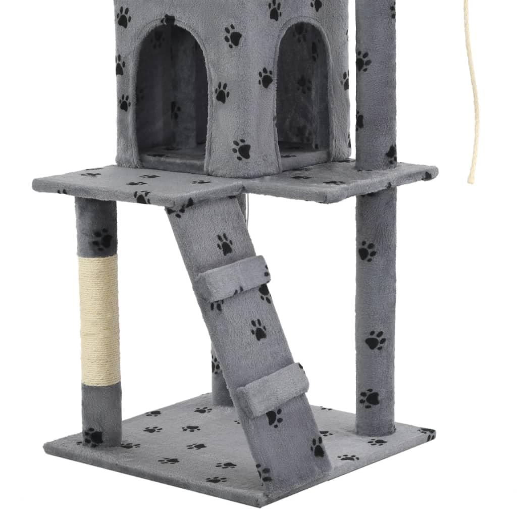 Kattenkrabpaal met sisalpalen 120 cm pootafdrukken grijs