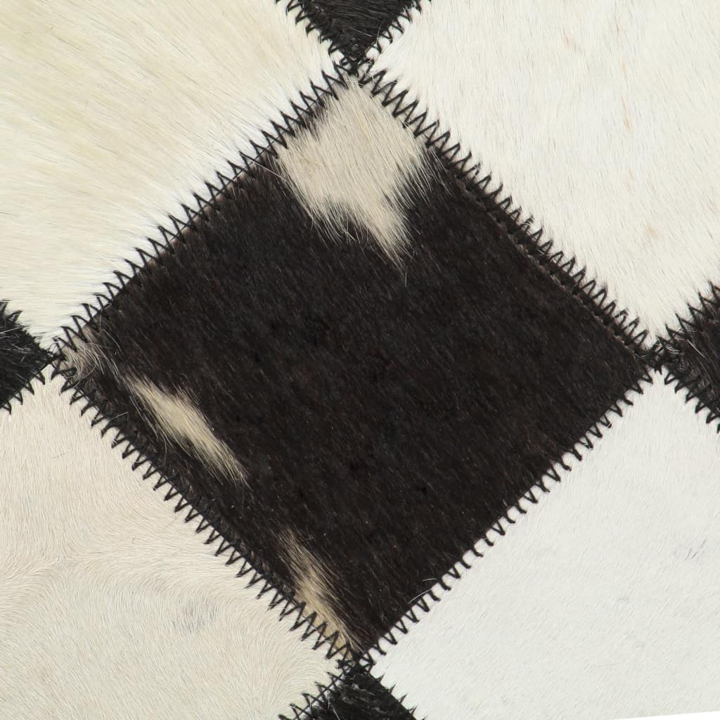 Relaxstoel ruiten 69x69x69 cm echt leer zwart
