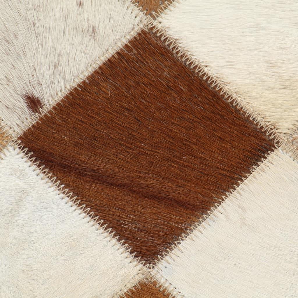 Relaxstoel ruiten 69x69x69 cm echt leer bruin
