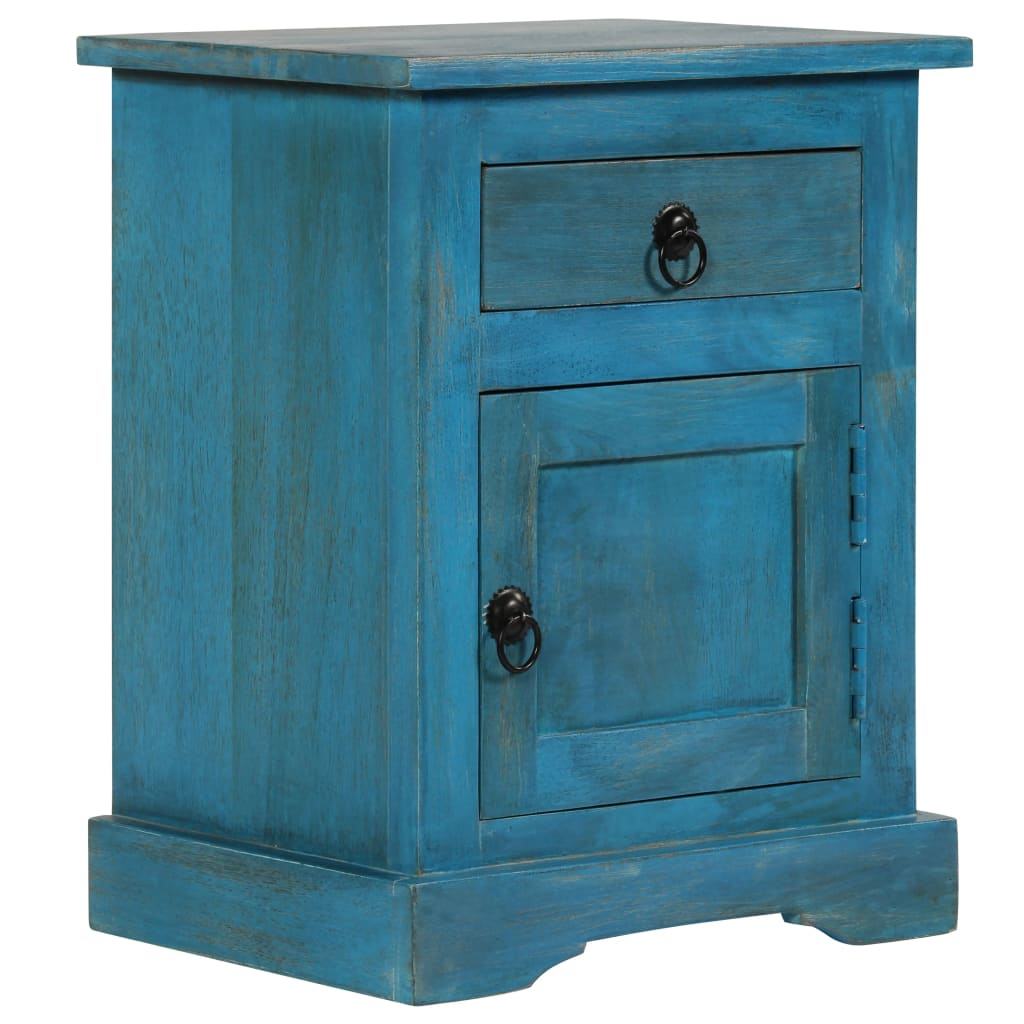 Nachtkastje 40x30x50 cm massief mangohout blauw