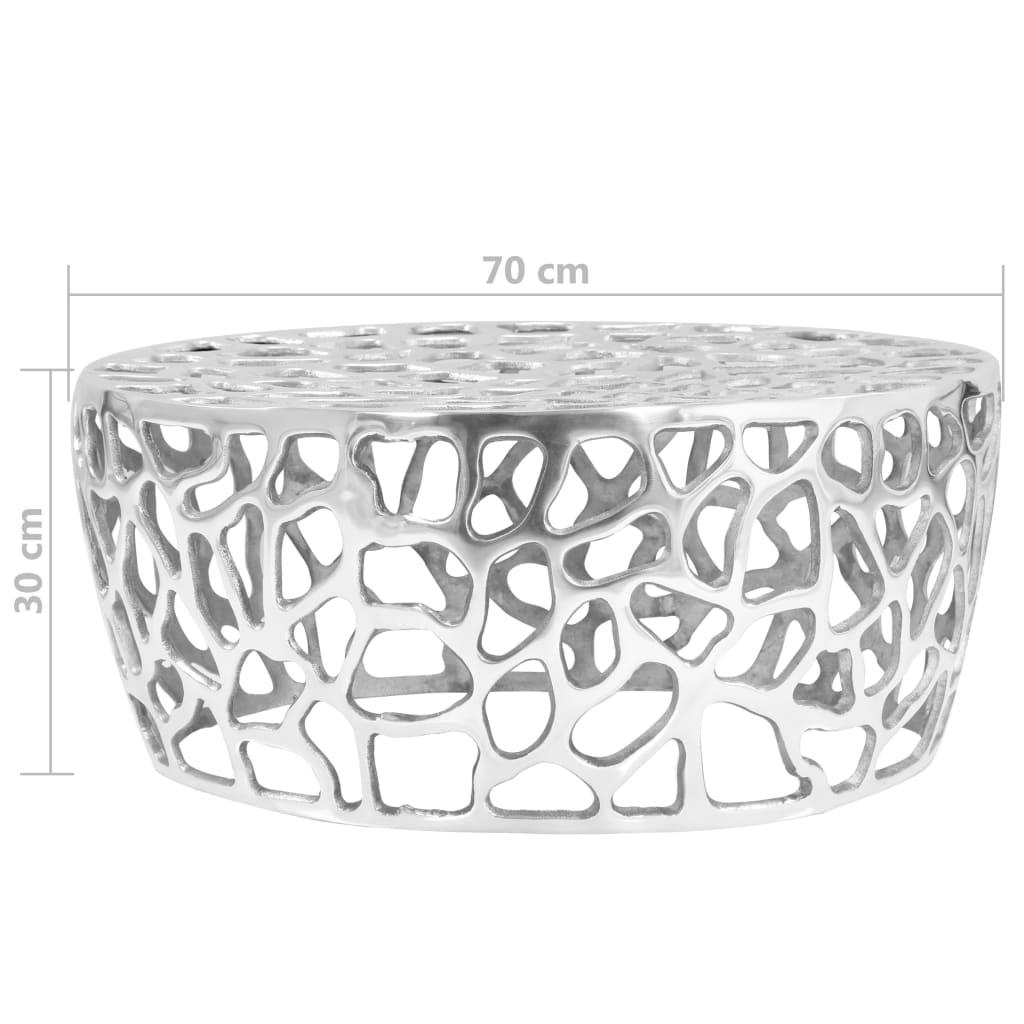 Salontafel 70x30 cm gegoten aluminium zilverkleurig