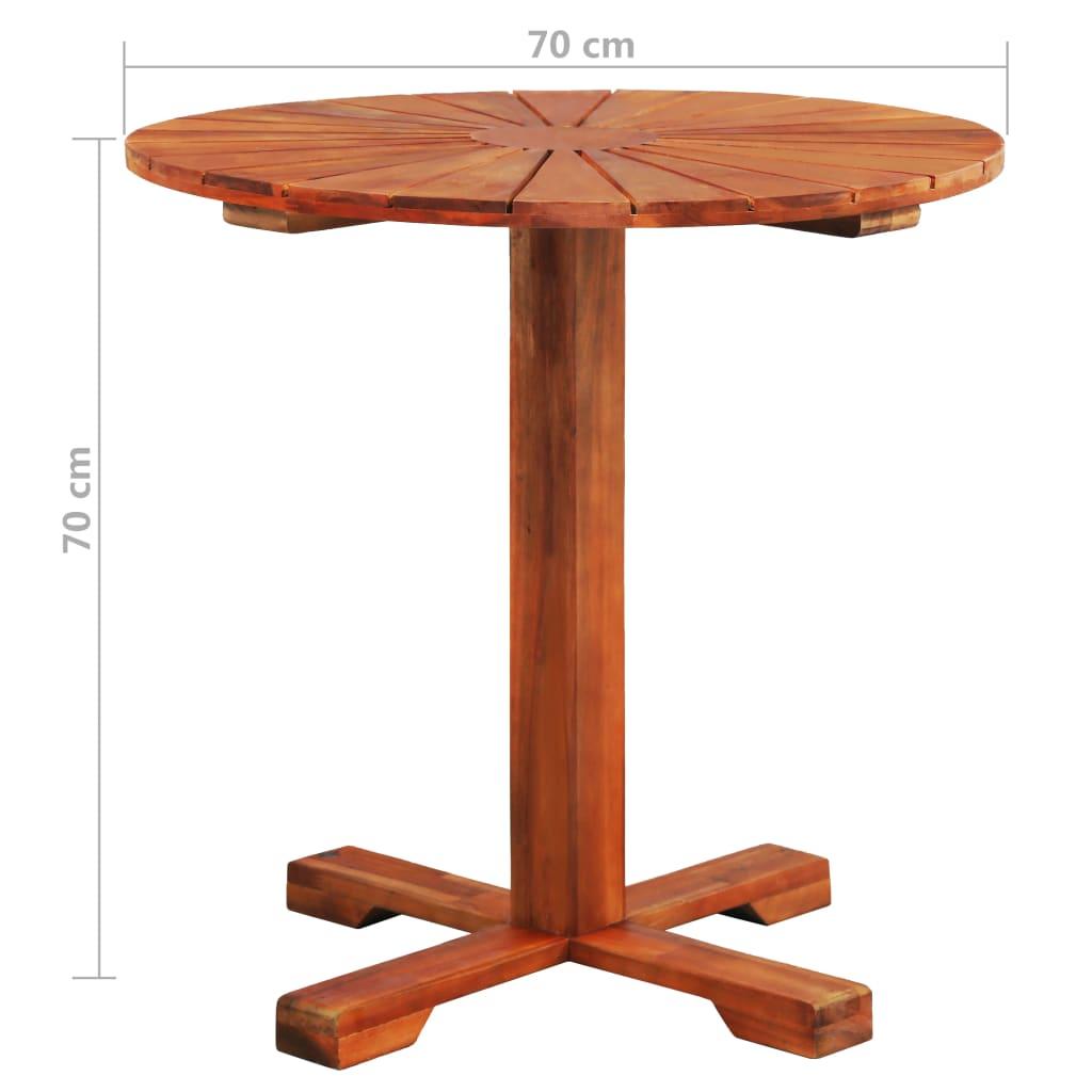 Tafel op voet rond 70x70 cm massief acaciahout