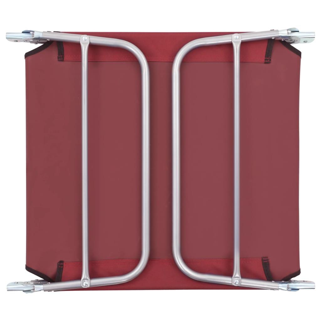 Ligbedden 2 st inklapbaar staal en stof rood