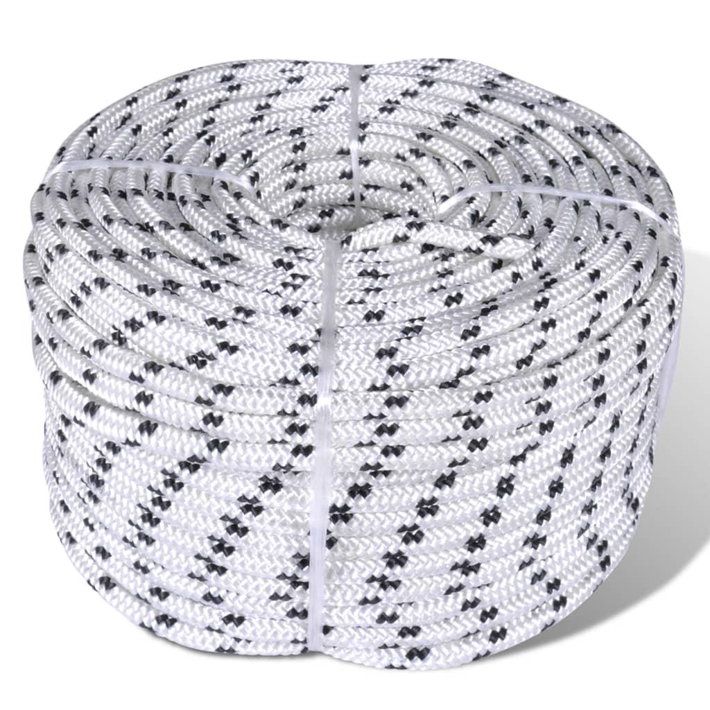Boottouw gevlochten 10 mm 250 m polyester wit