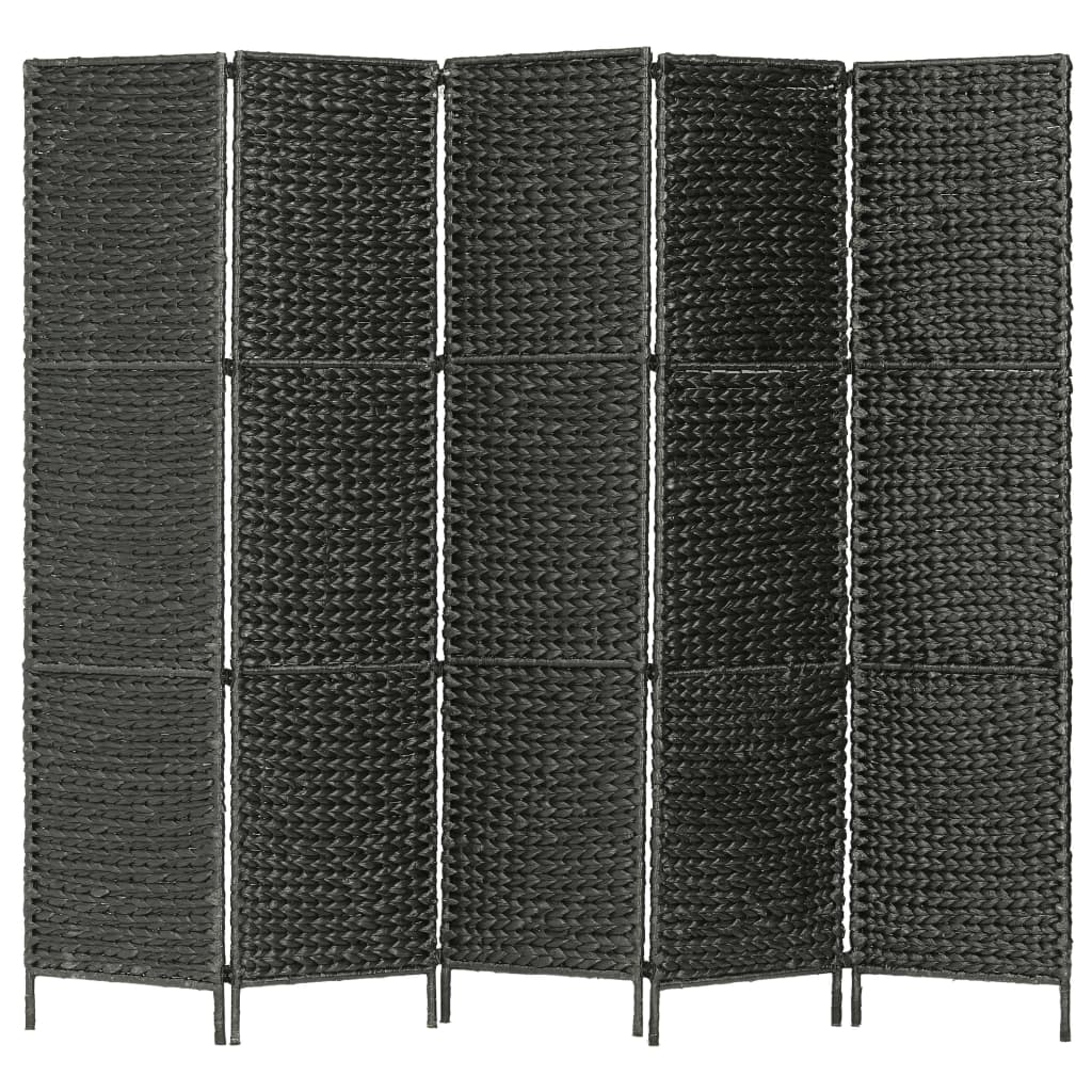 Kamerverdeler met 5 panelen 193x160 cm waterhyacint zwart