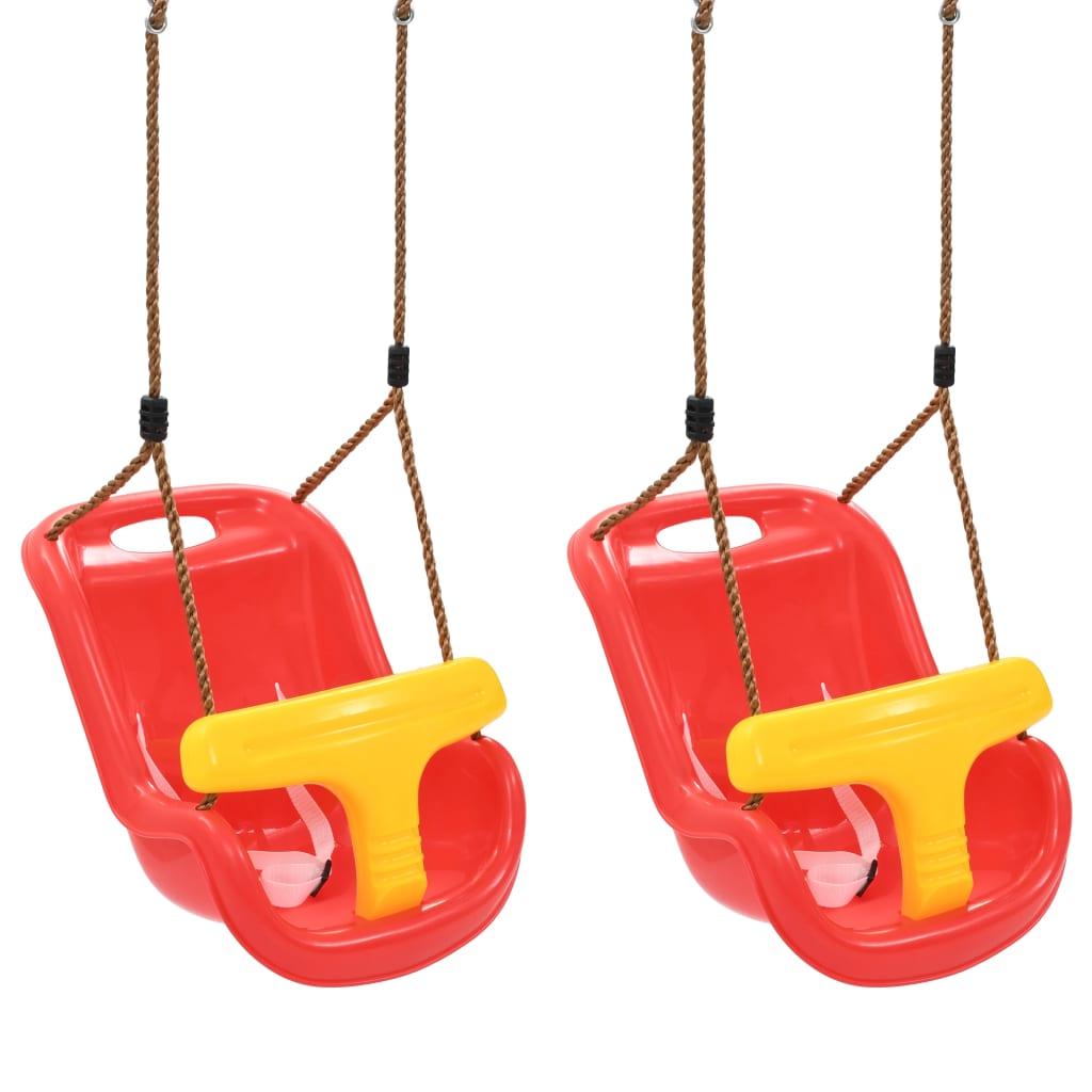 Babyschommels 2 st met veiligheidsgordel PP rood