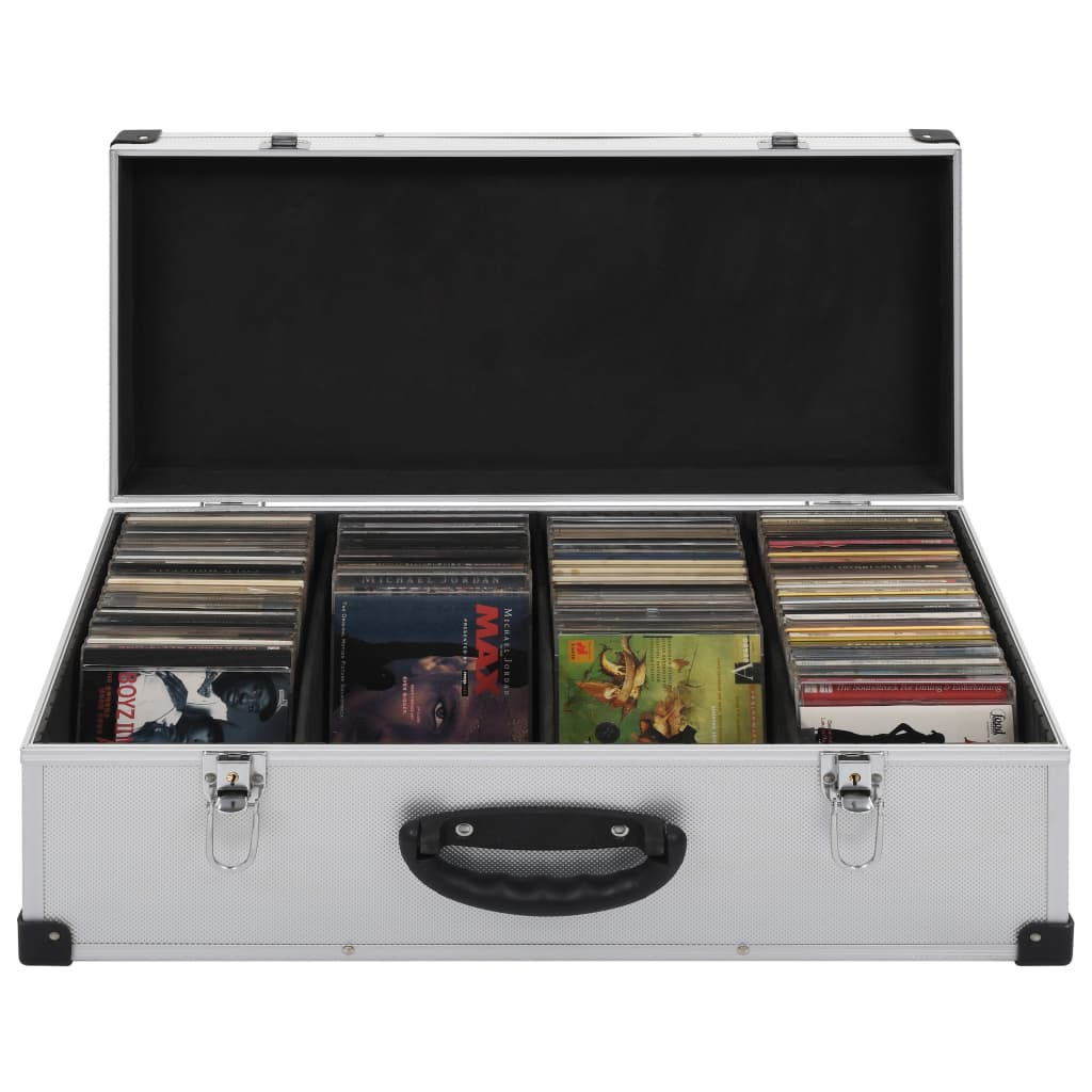 Cd-koffer voor 80 cd's aluminium ABS zilverkleurig