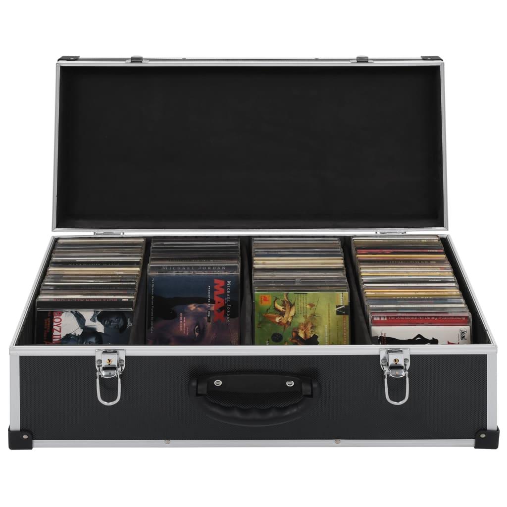 Cd-koffer voor 80 cd's aluminium ABS zwart