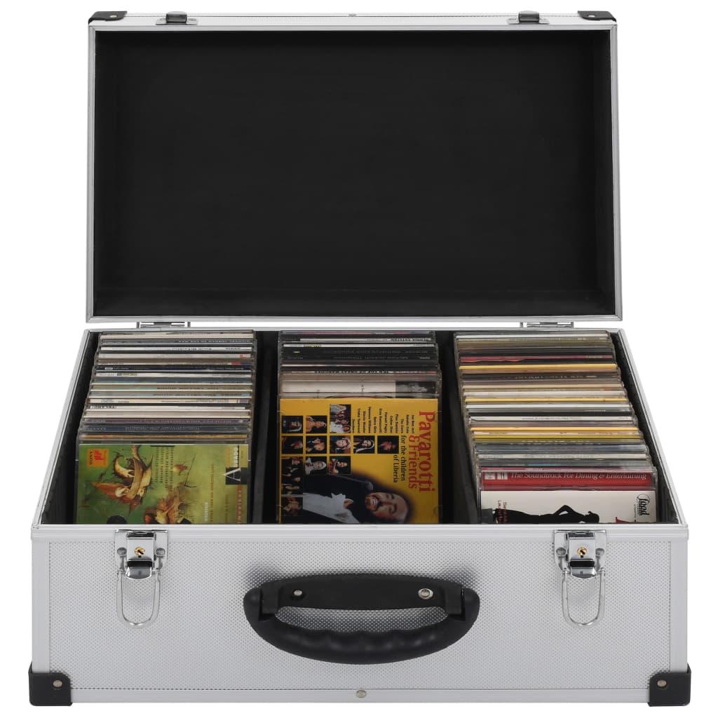 Cd-koffer voor 60 cd's aluminium ABS zilverkleurig