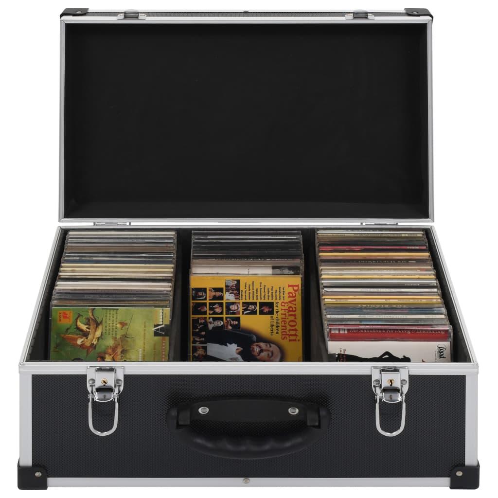 Cd-koffer voor 60 cd's aluminium ABS zwart