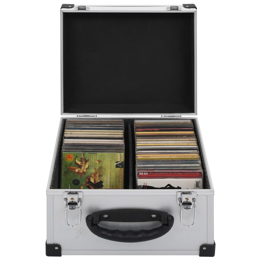 Cd-koffer voor 40 cd's aluminium ABS zilverkleurig