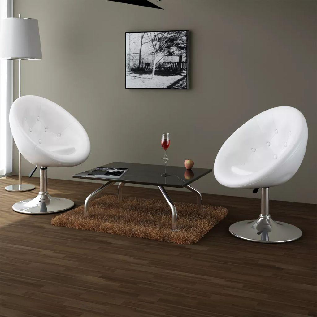 Loungestoelen Chesterfield kunstleer wit 2 st