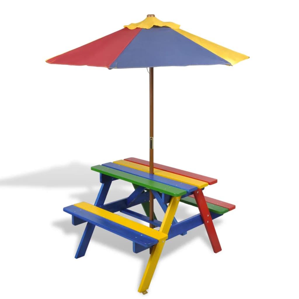 Kinderpicknicktafel- en banken met parasol in vier kleuren