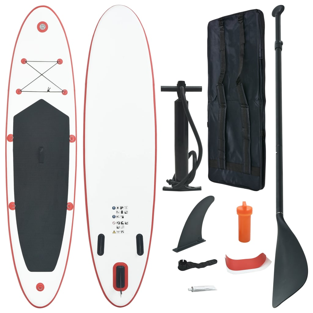 Stand up paddle board opblaasbaar met accessoires rood en wit
