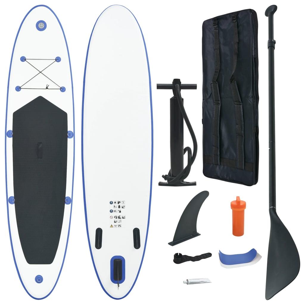 Stand up paddle board opblaasbaar met accessoires blauw en wit