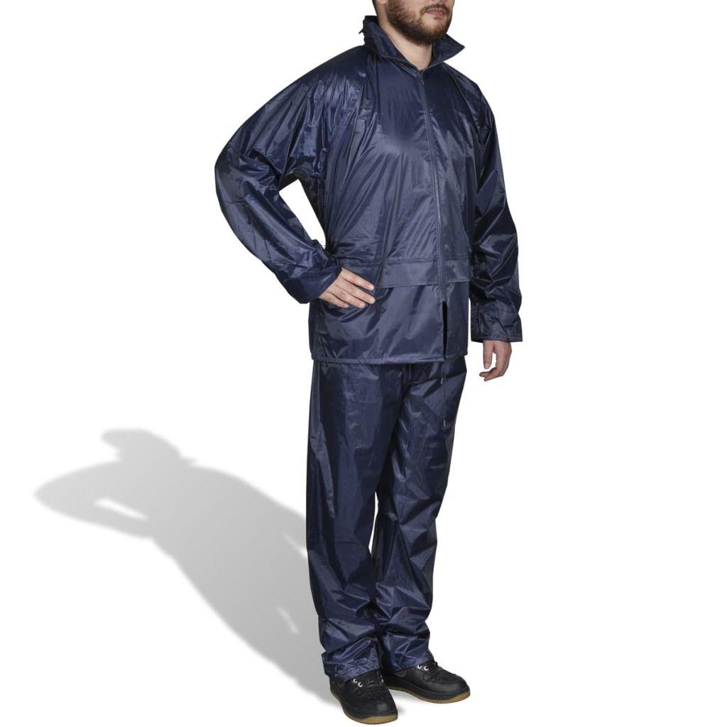 Regenpak 2-delig + capuchon (heren / marineblauw / maat XXL)