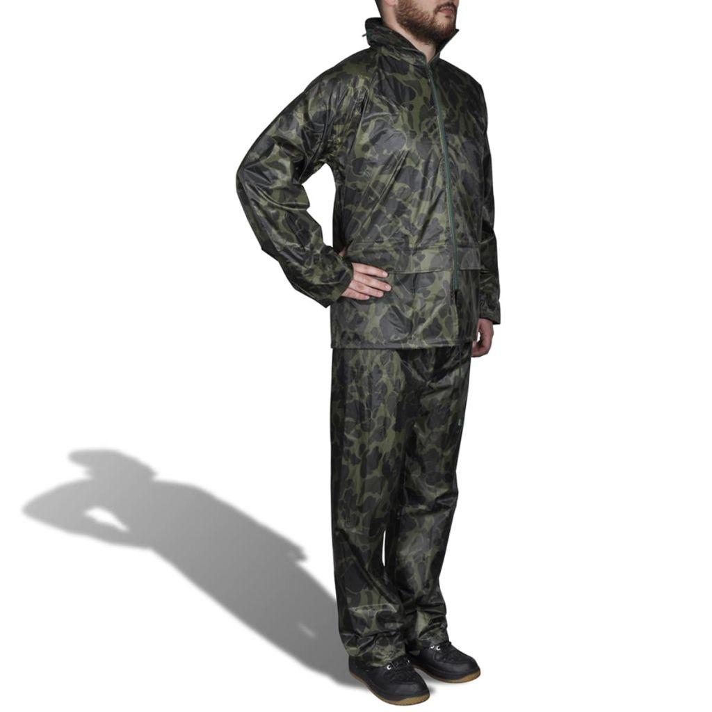 Regenpak 2-delig met capuchon (heren / camouflage / maat L)