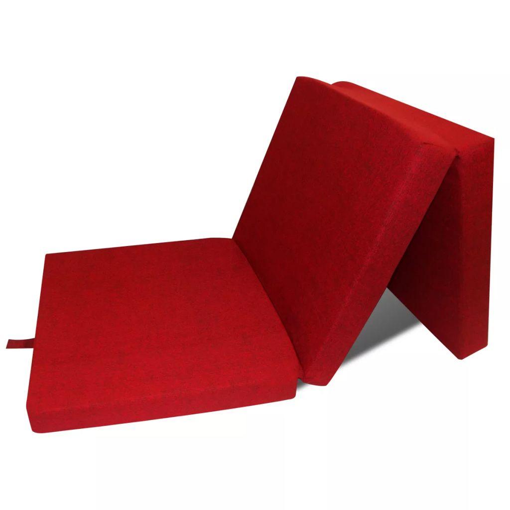 Schuimmatras opklapbaar rood 190x70x9 cm