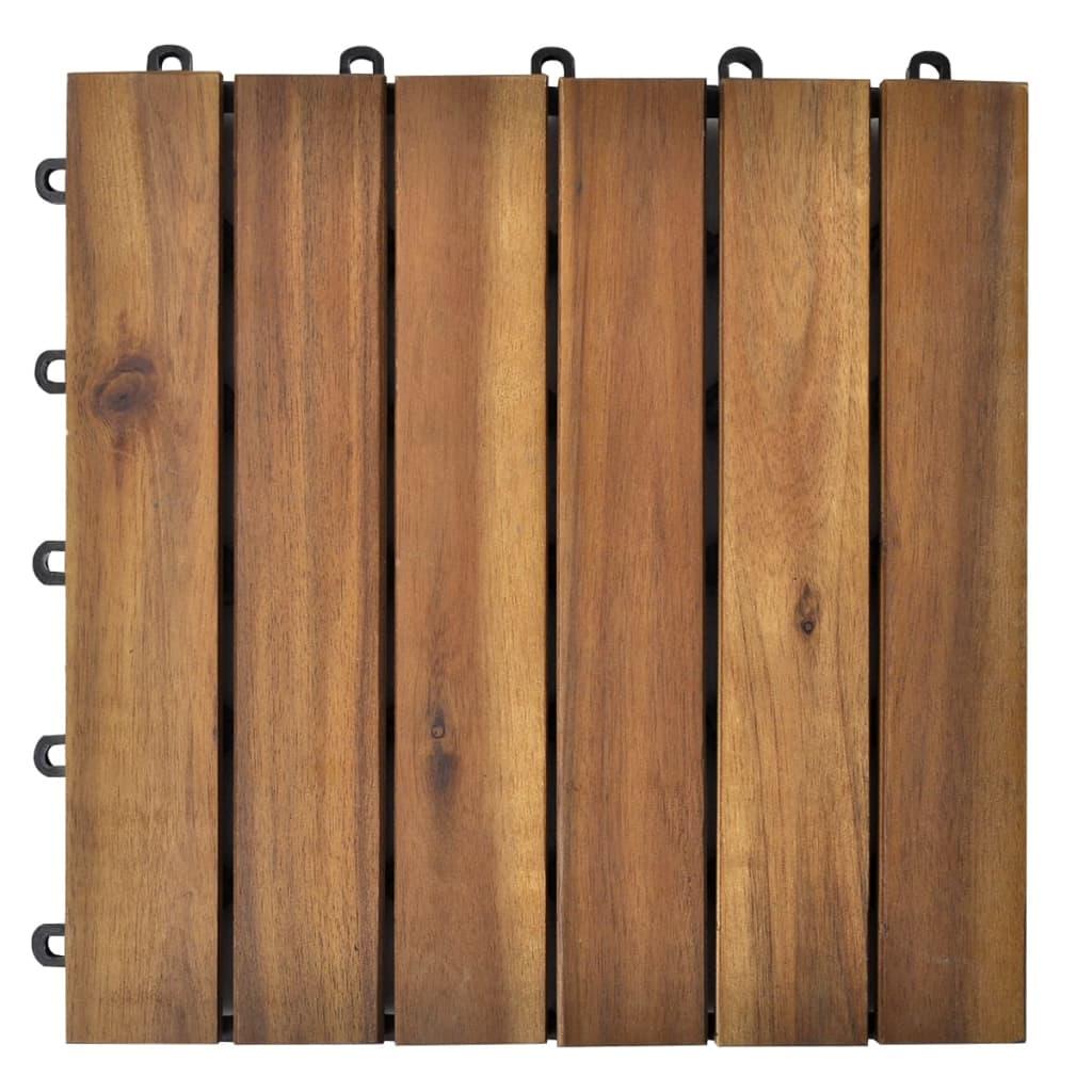 Terrastegels acaciahout 30 x 30 cm verticaal patroon (10 stuks)