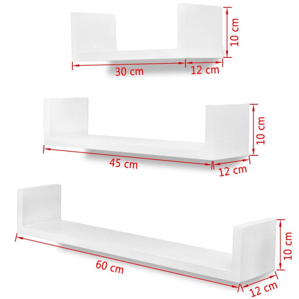 Wandplanken U-vormig zwevend voor boeken/dvd's wit 3 st