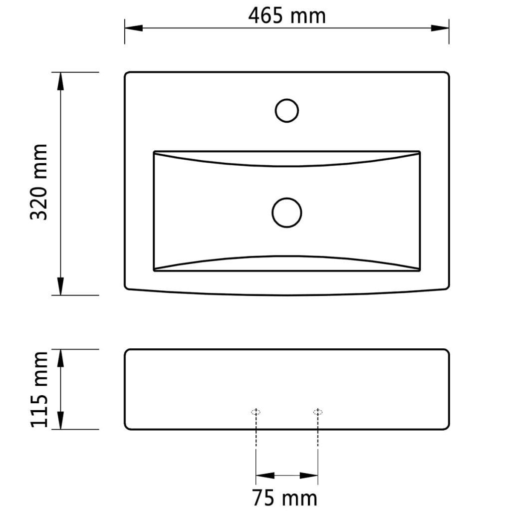 Wastafel met kraangat en overloop wit rechthoekig keramiek
