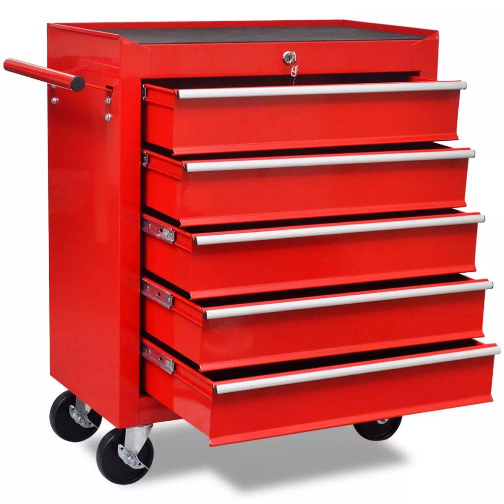 Gereedschapswagen 5 lades rood