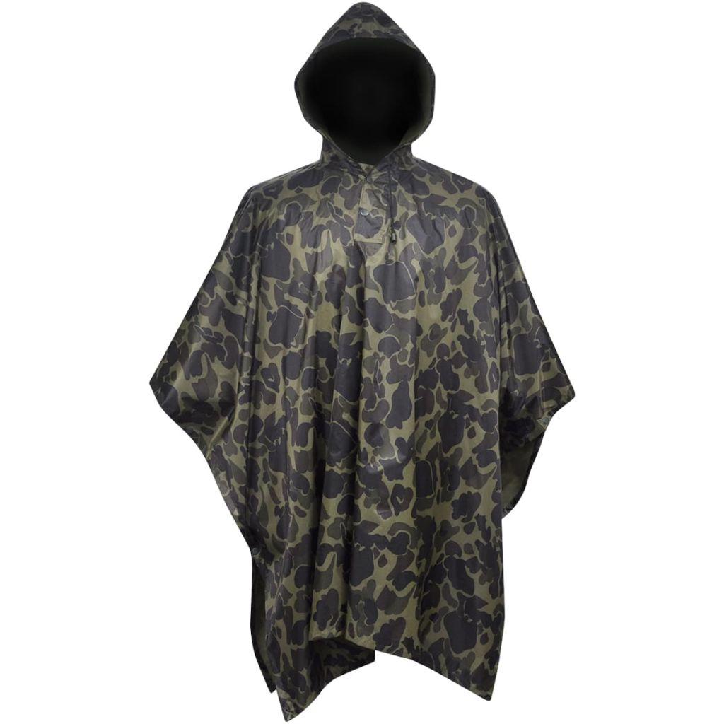 Regenponcho leger waterbestendig voor kamperen/wandelen camouflage