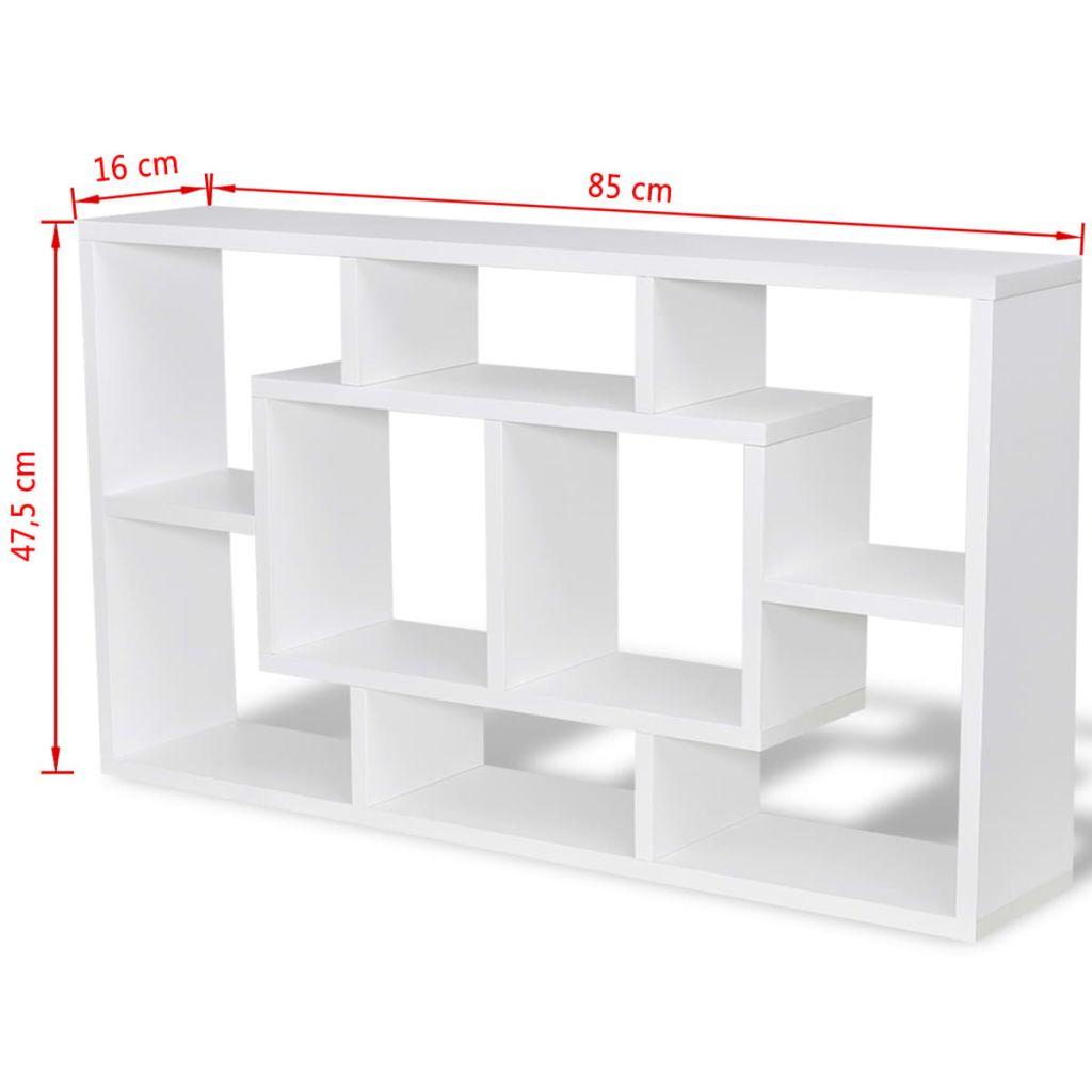 Wandplank met 8 vakken wit