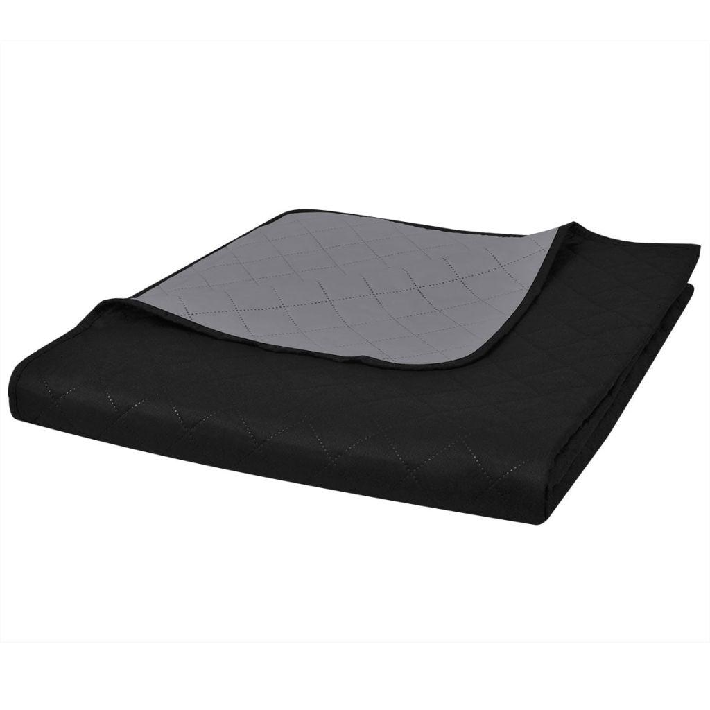 Bedsprei gewatteerd dubbelzijdig 170x210 cm zwart/grijs