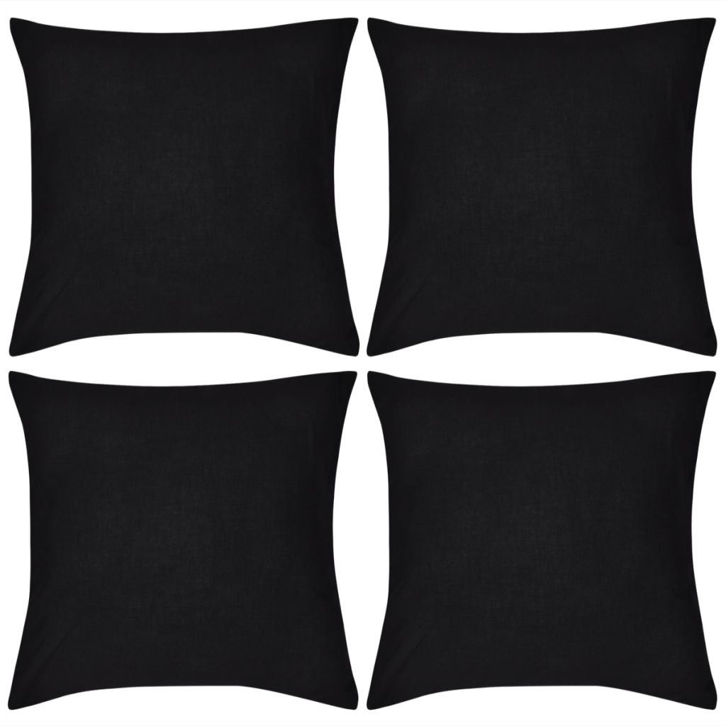 Kussenhoezen katoen 80 x 80 cm zwart 4 stuks